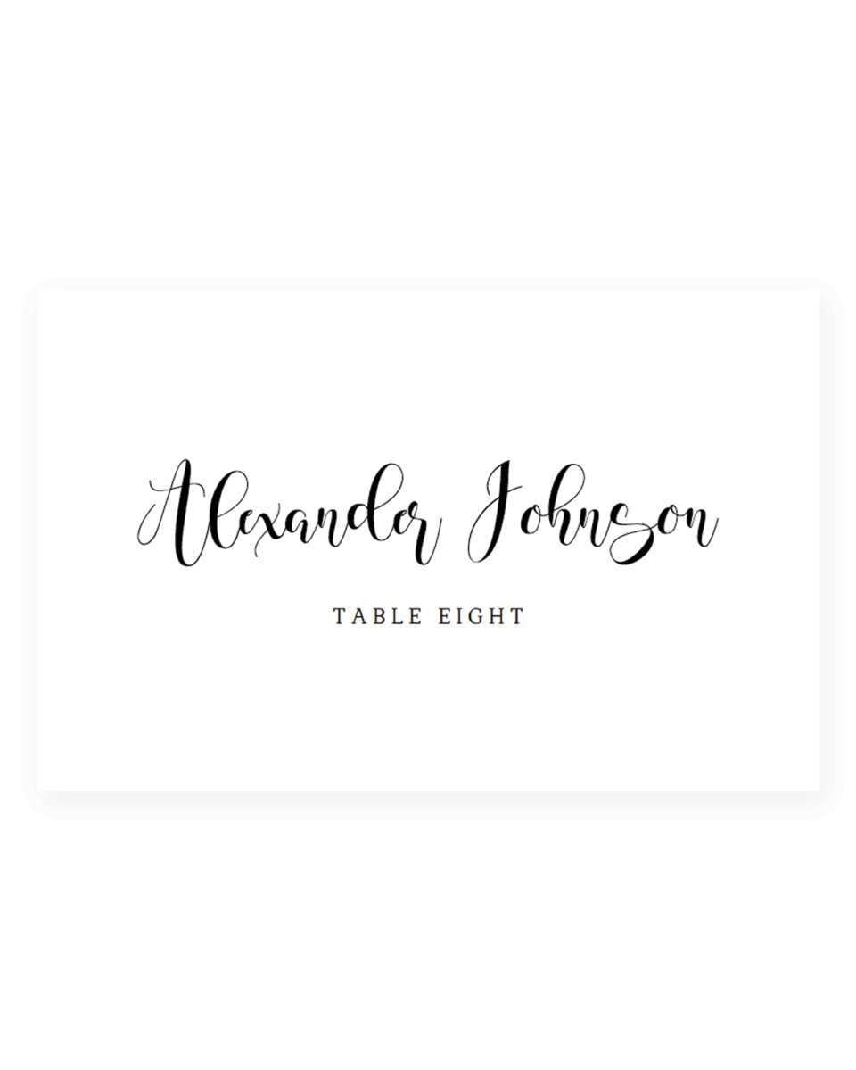Black and White Wedding Place Cards Templates