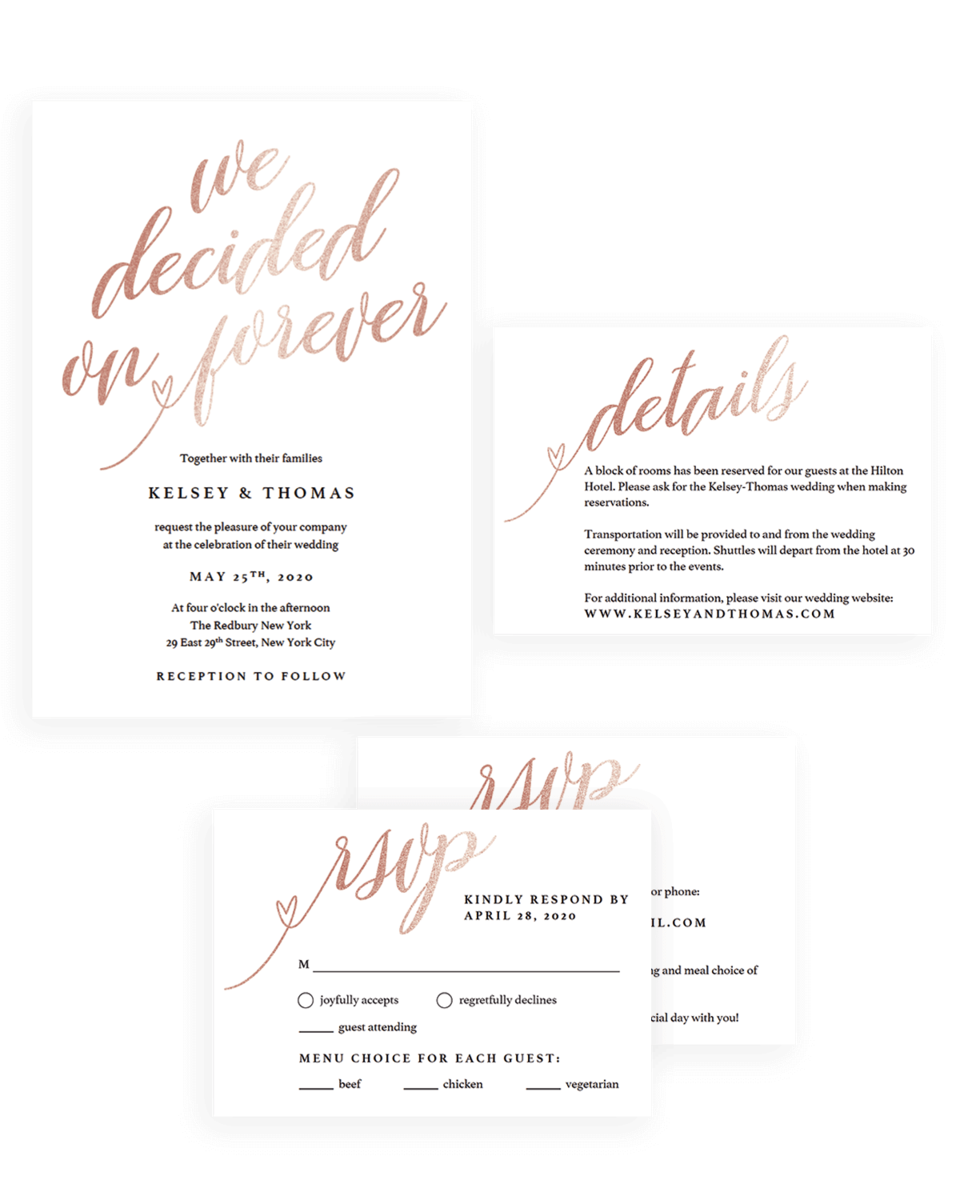 Glitter Rose Gold Wedding Invitation Set with Rsvp and Details Cards - FL1