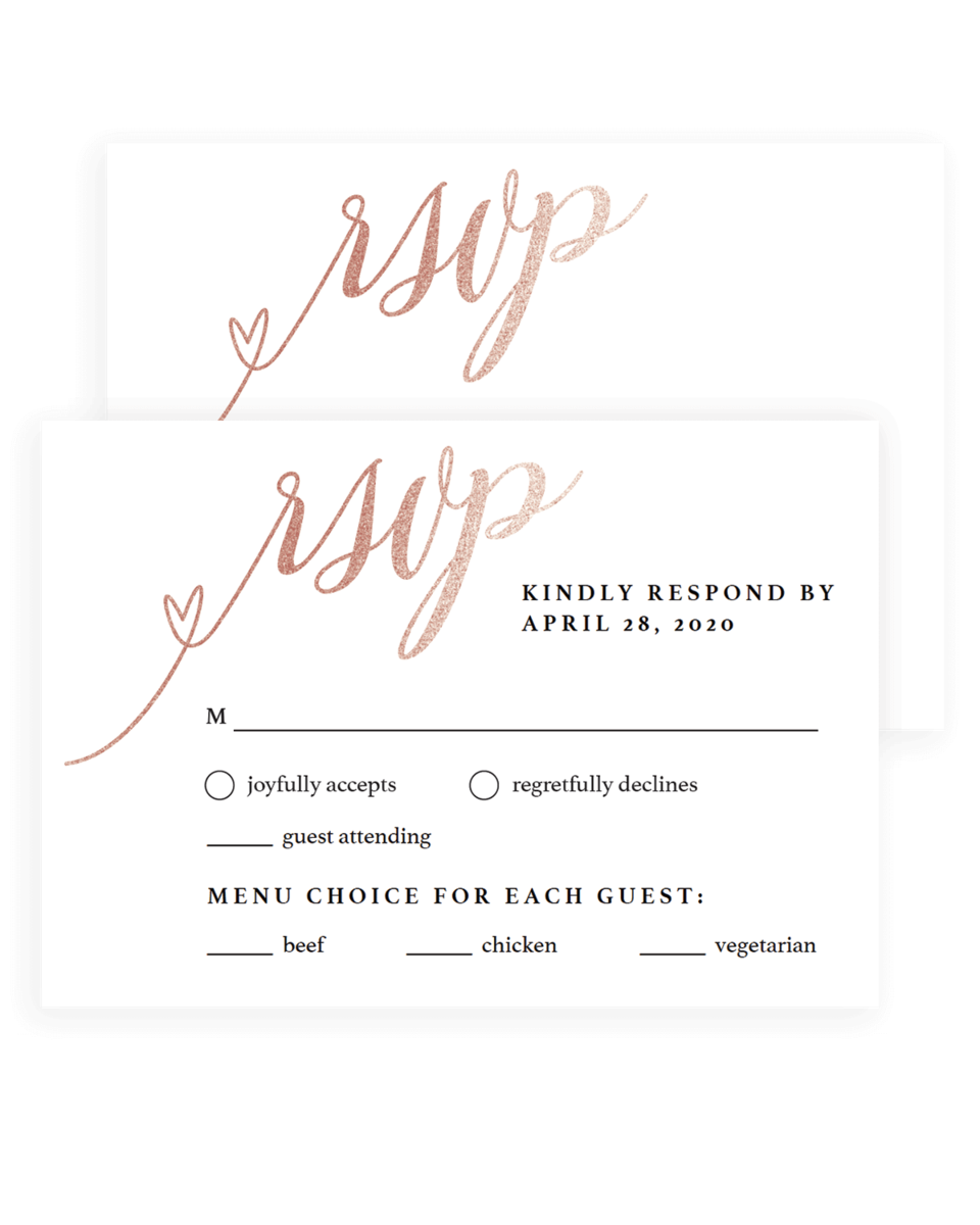 Blush Wedding Reply Cards Rose Gold Glitter - FL1