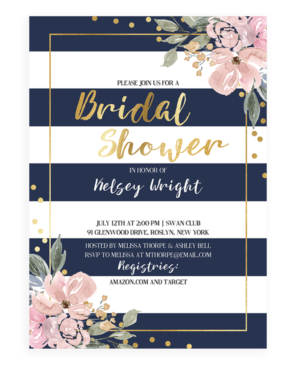 Pink Flowers and Navy Stripes Bridal Shower Invite