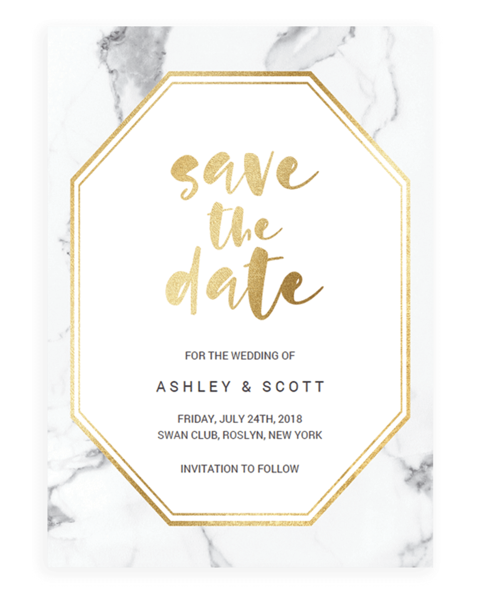 Marble and Gold Save the Date cards - Geometric Save the Dates