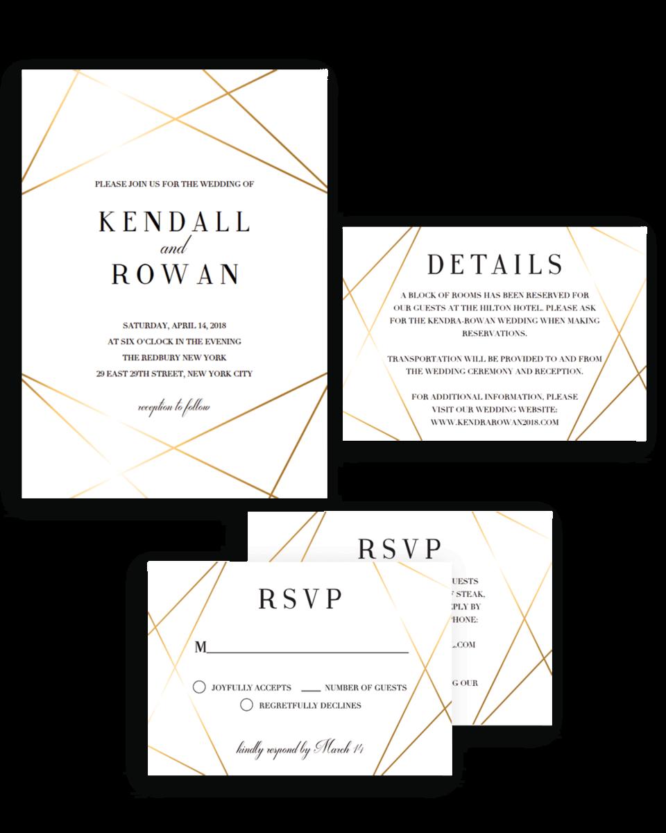 Custom Wedding Invitation Suite Templates Geometric Lines
