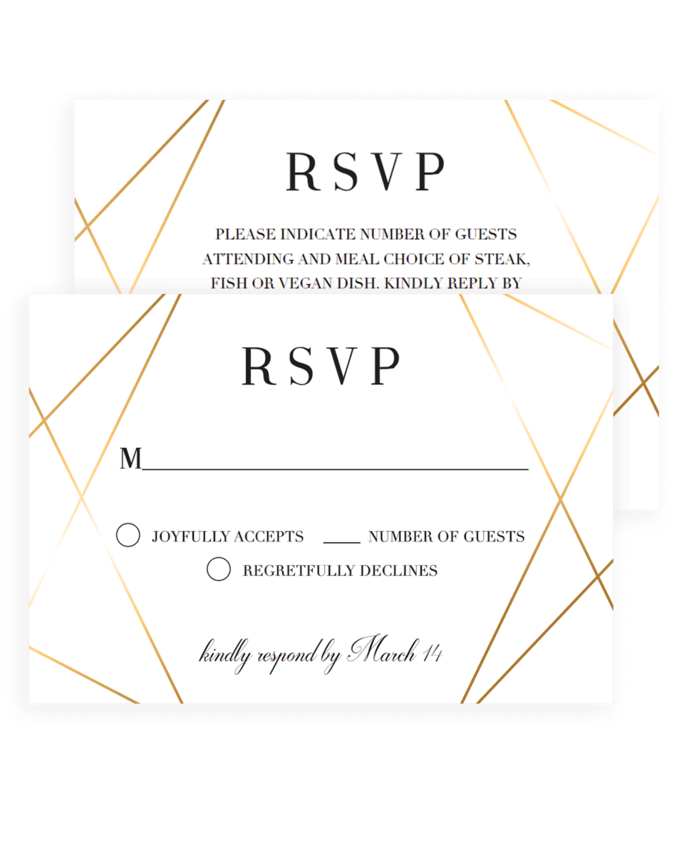 Gold Wedding Response Cards Downloadable - GL1