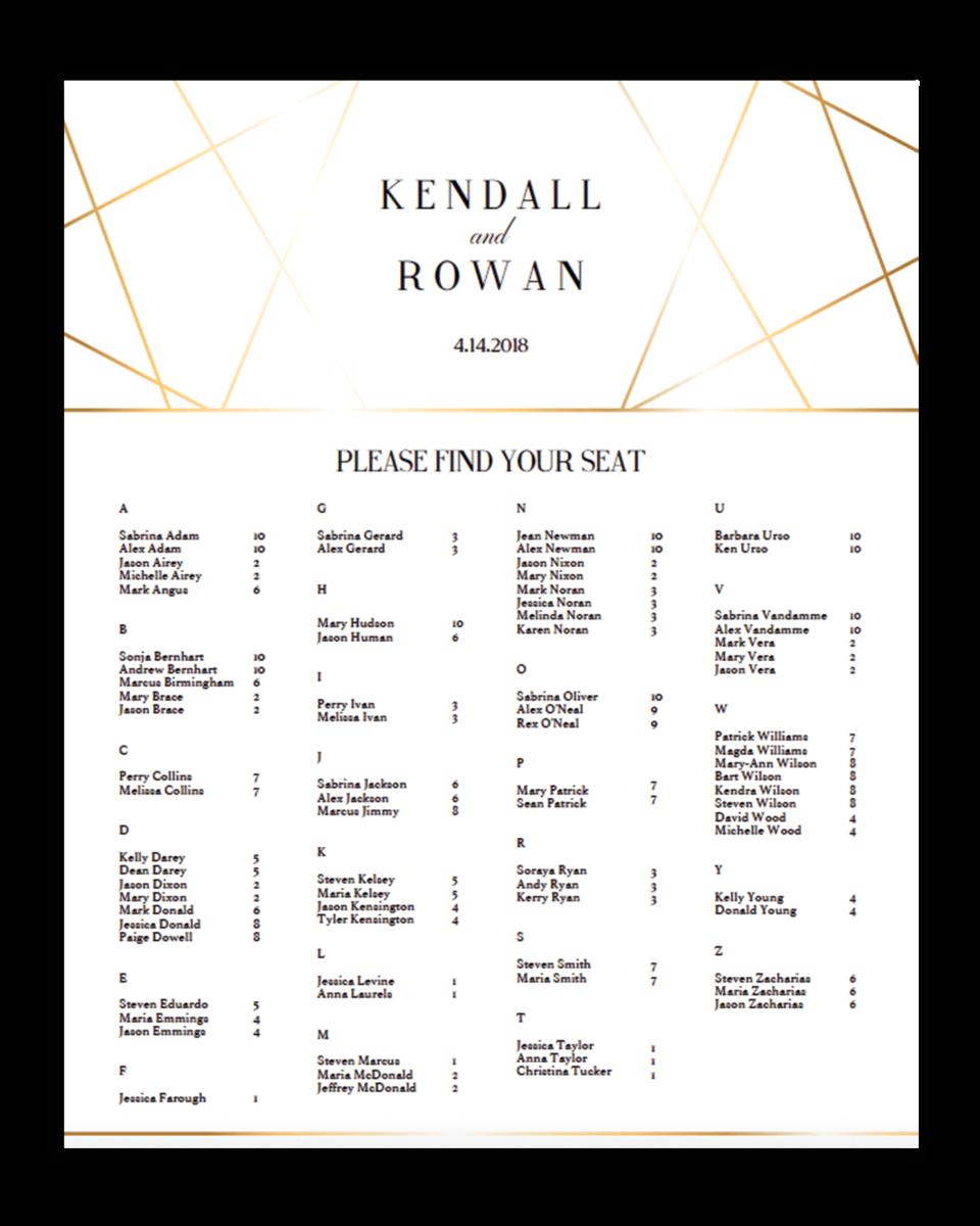 geometric wedding seating plan alphabetical modern gold templates