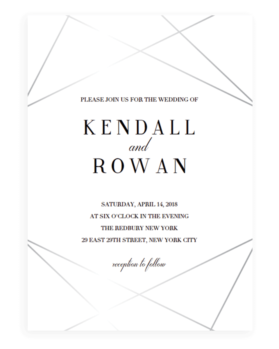 Geometric Wedding Invitation Template Silver Lines