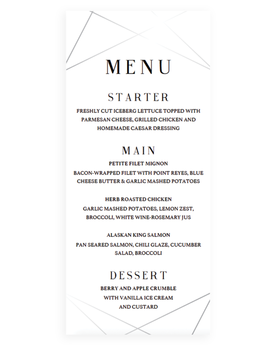 Silver and White Wedding Menu Template Geometric Themes - GLS1