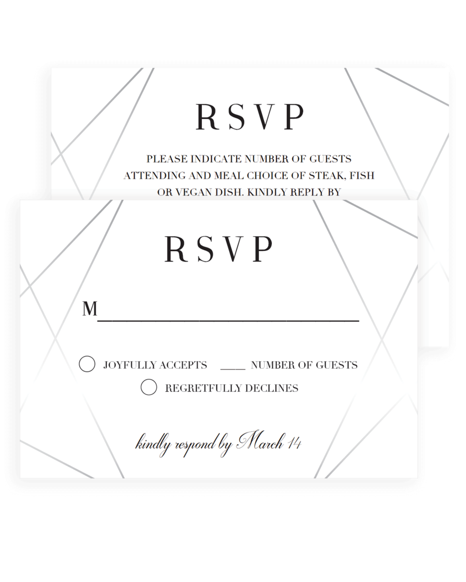 Silver Wedding Response Cards Instant Download
