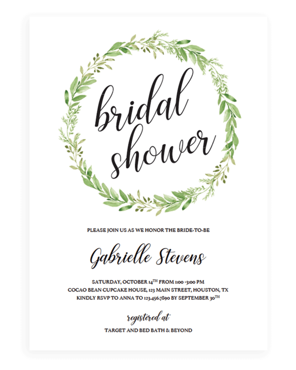 Green Wreath Bridal Shower Invitation Template - Chic Botanical
