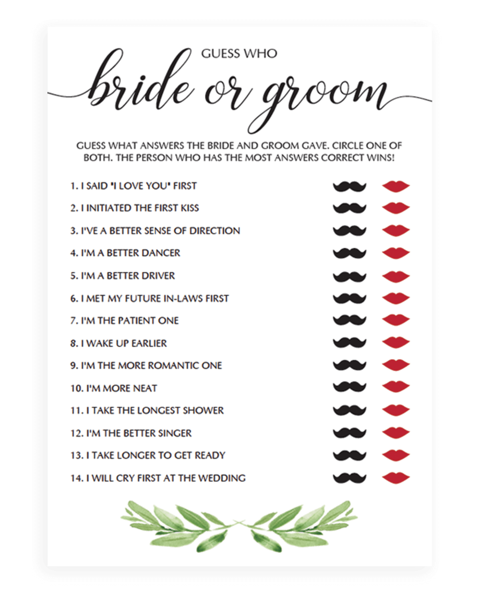 Bride And Groom Trivia Questions: Guess Who Bride Or Groom Quiz