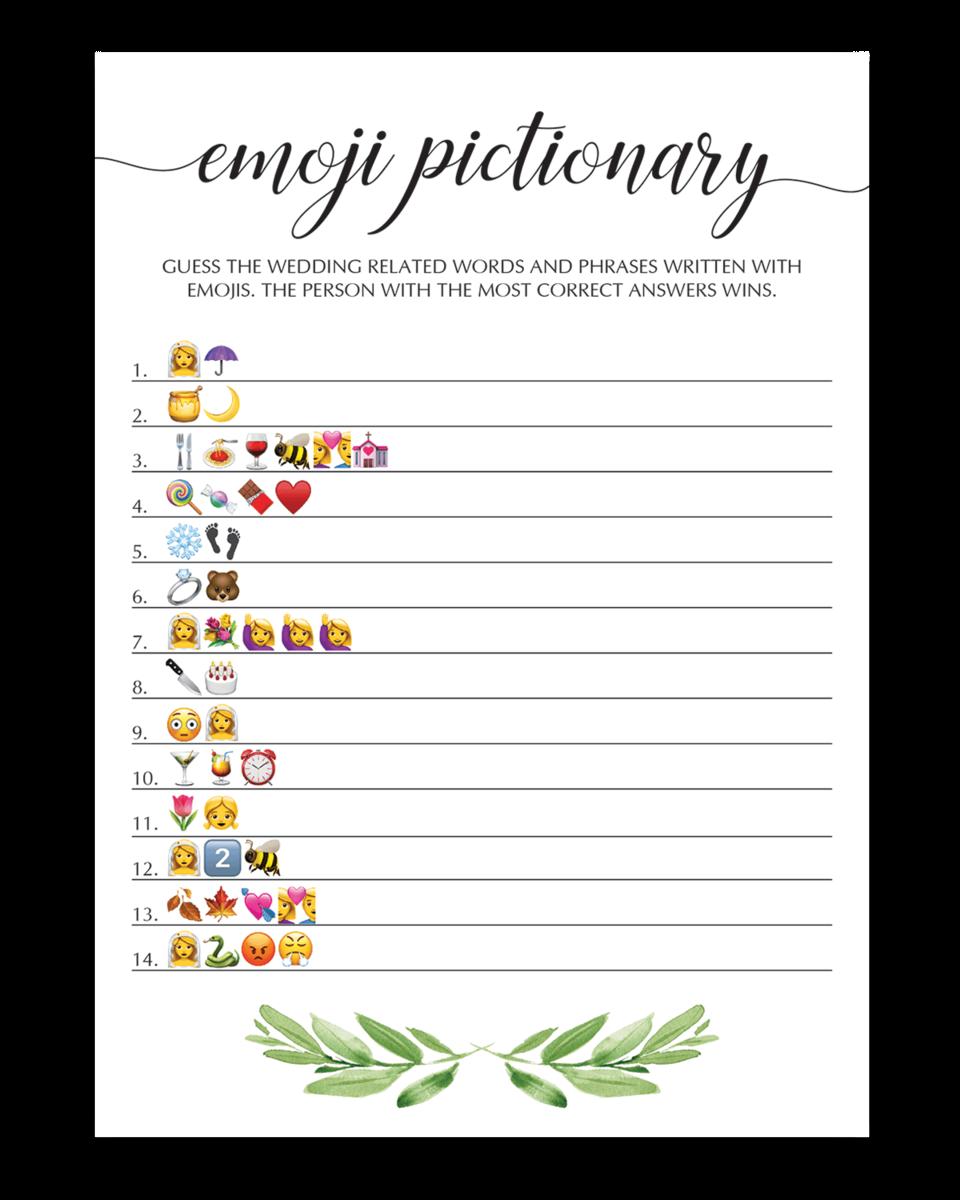 graphic regarding Wedding Emoji Pictionary Free Printable known as Botanical Emoji Pictionary Bridal Shower Activity
