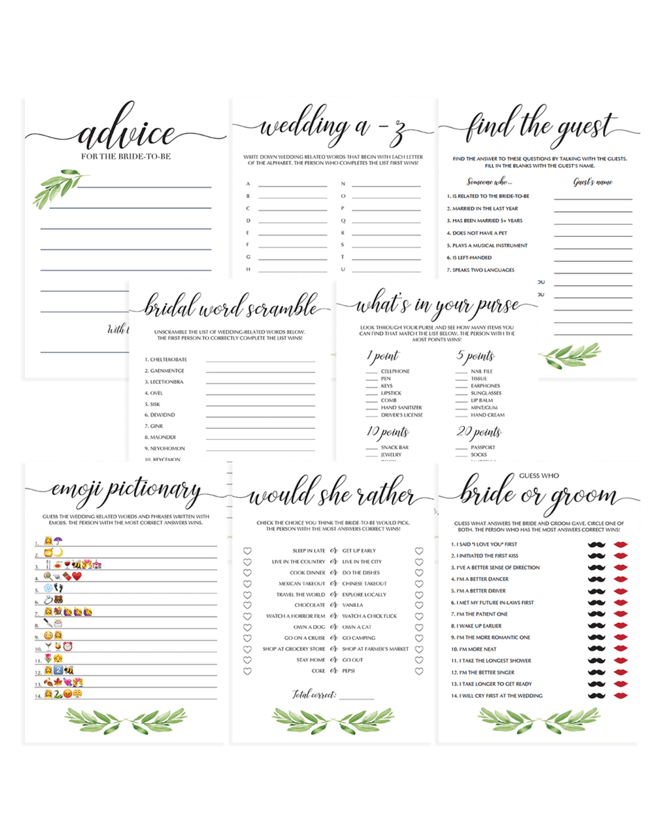 Bridal Shower Greenery Games Pack Printable - Set of 8