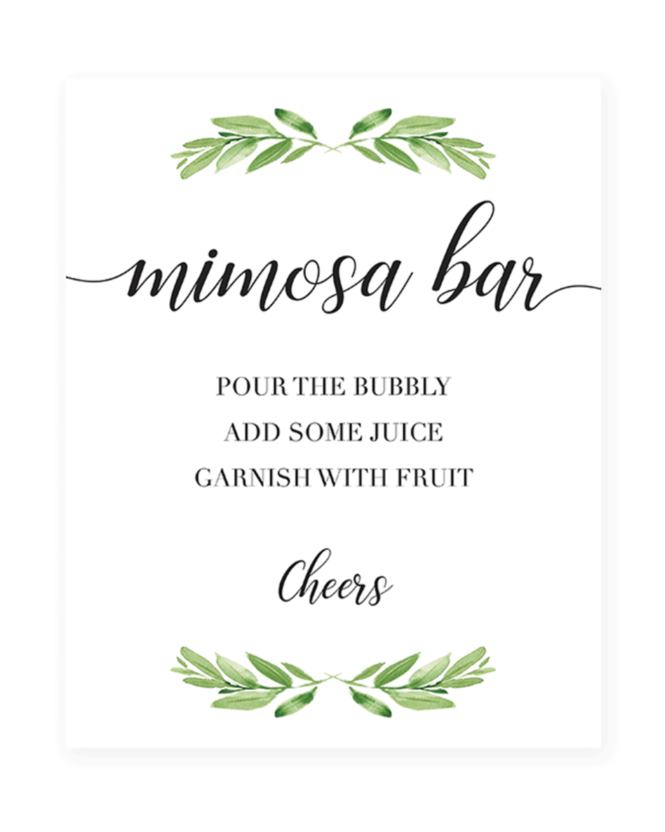 Botanical Bridal Shower Mimosa Bar Sign Greenery