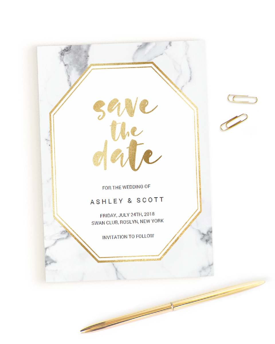 Marble and Gold Geometric Save the Date Card