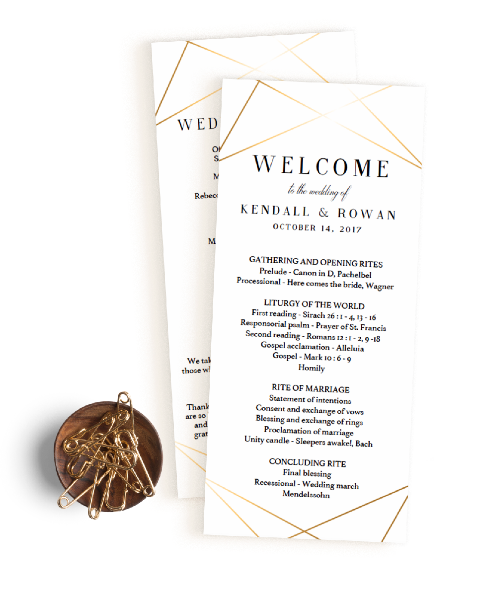 Modern gold wedding ceremony programs template