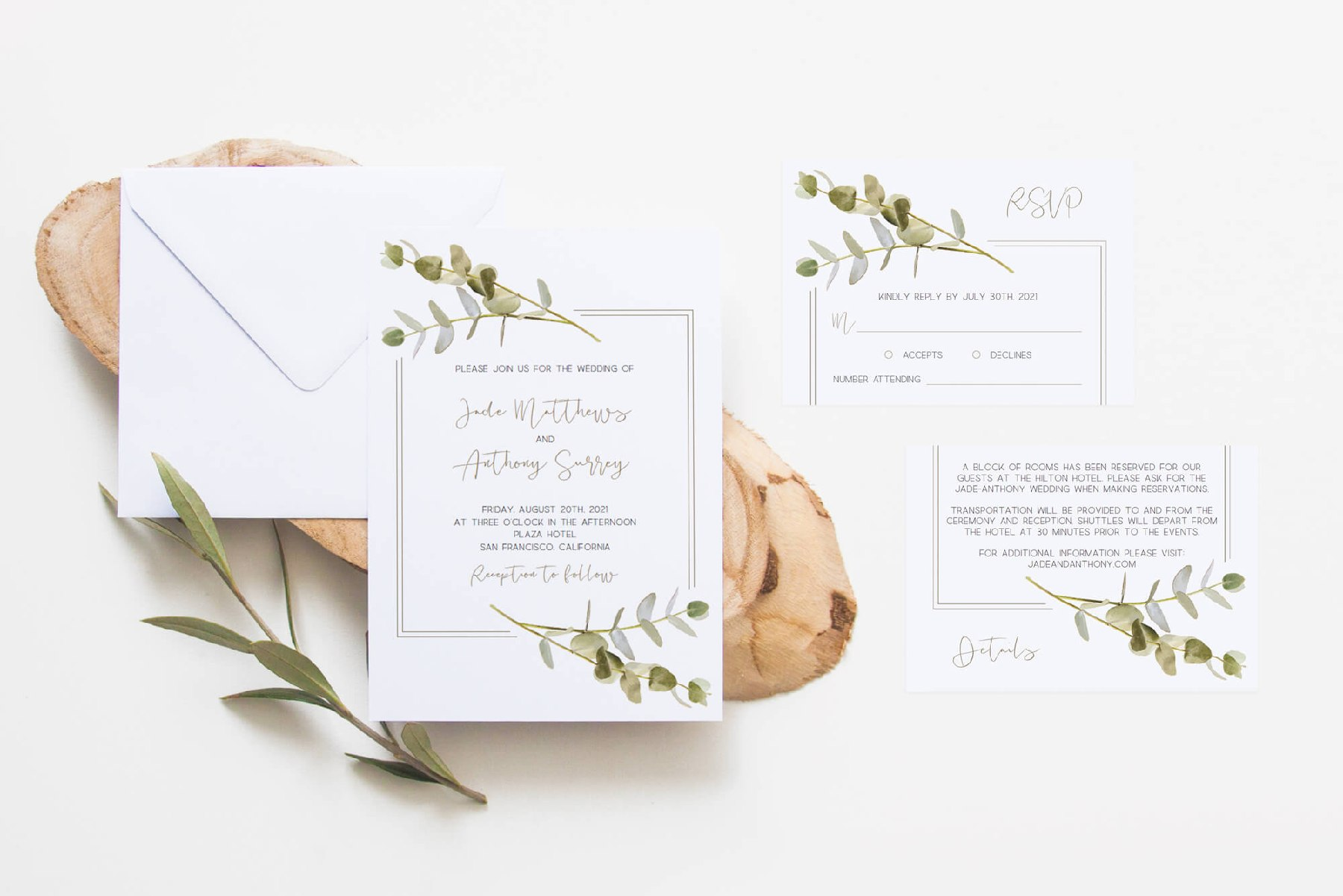 Eucalyptus leaves wedding invitation set templates
