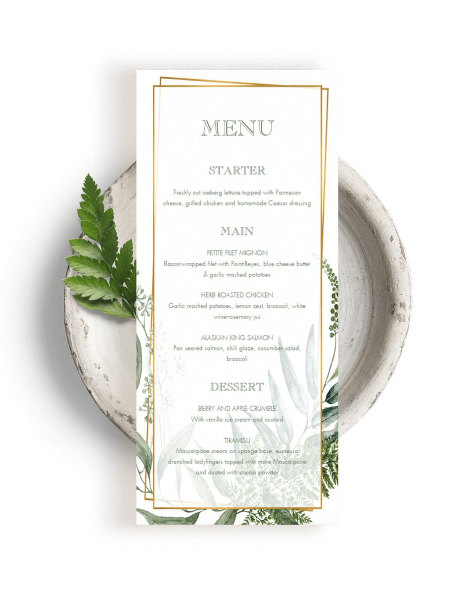 Gold and Green Wedding Menu Cards Printable