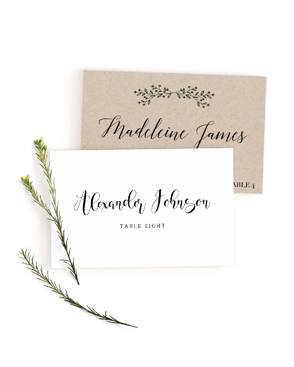 Editable wedding place cards templates