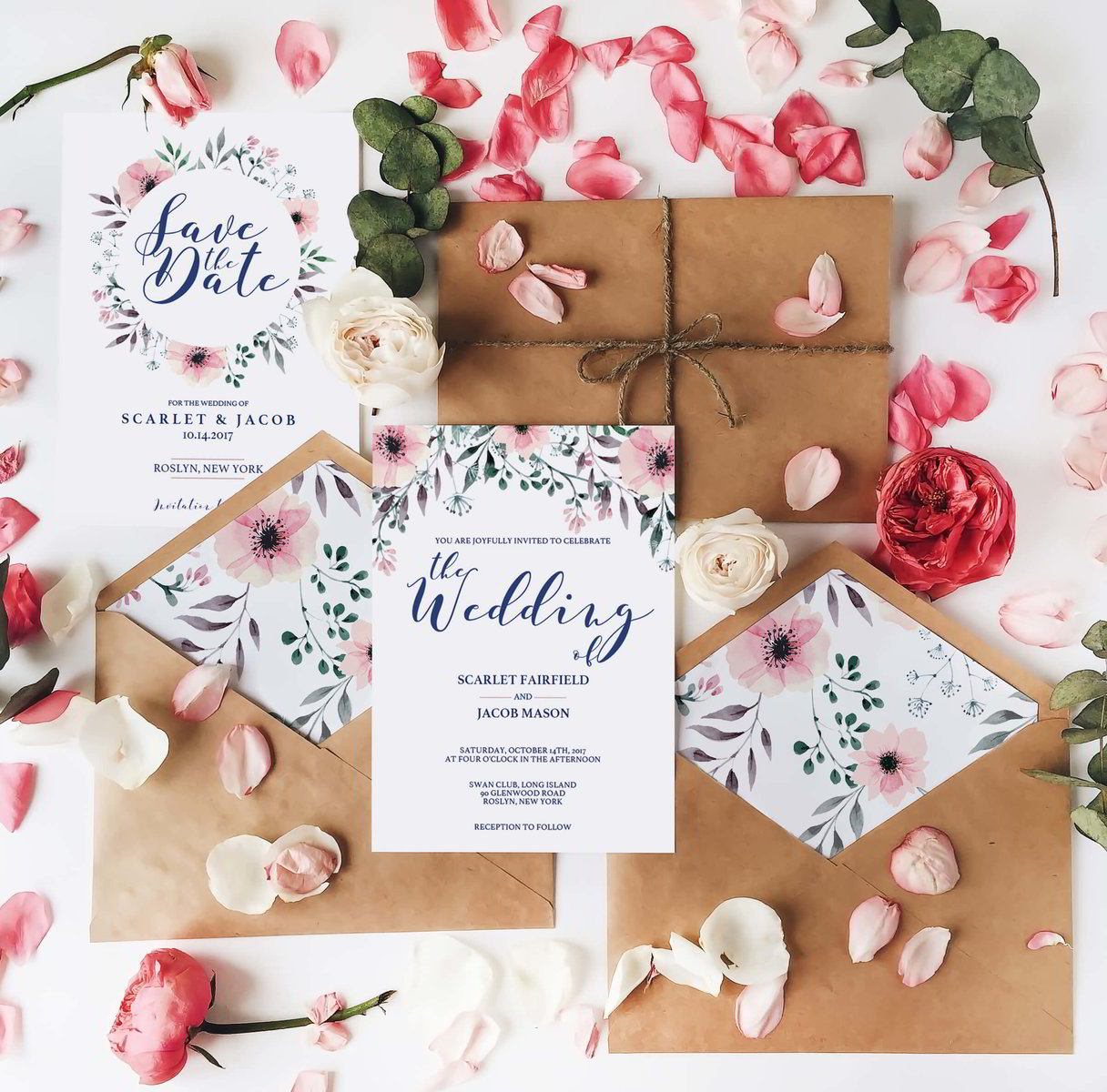 Eucalyptus wedding invitation template for greenery wedding