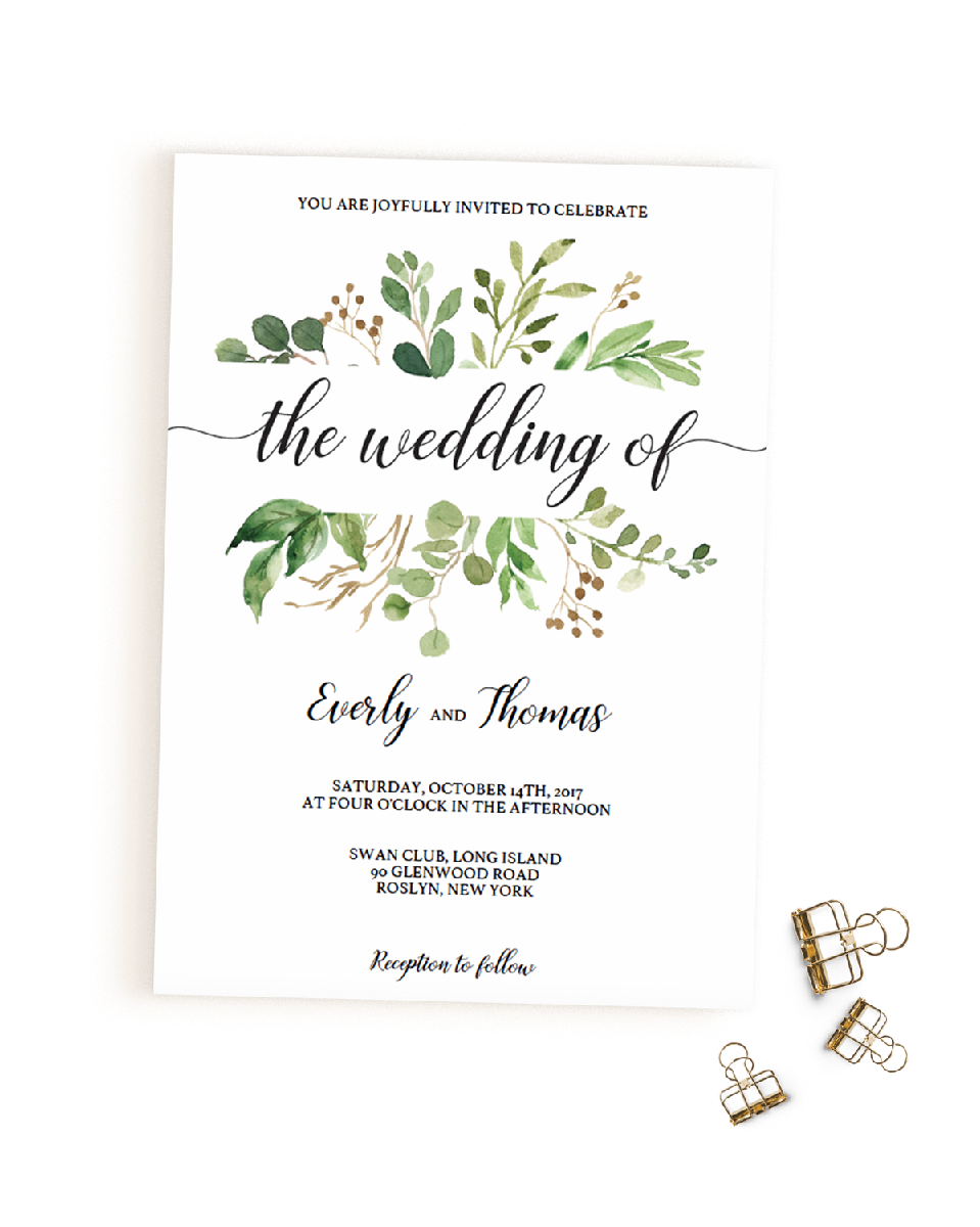 Greenery Wedding Invitation Templates