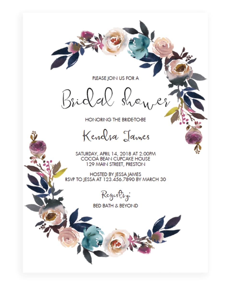 Floral Wreath Bridal Shower Invite Template Download