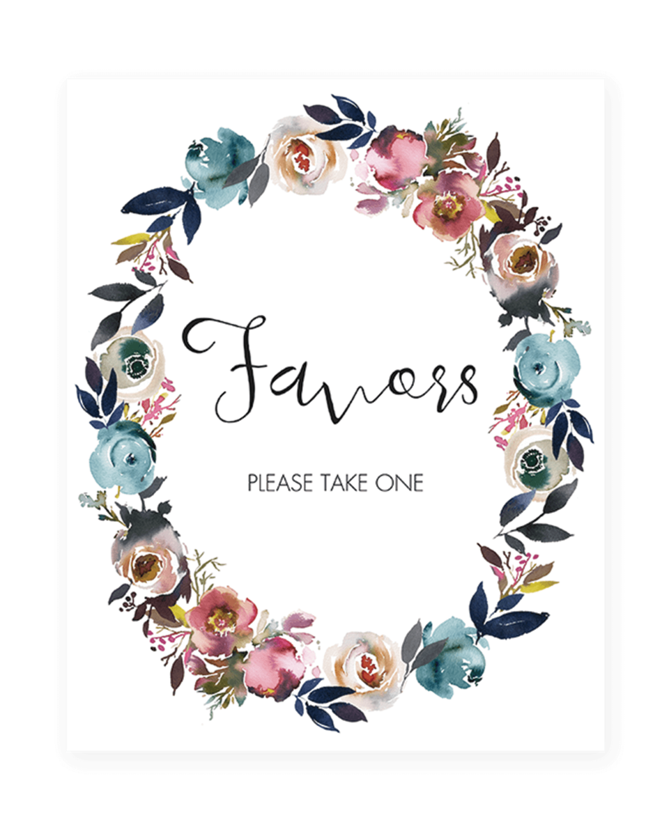 Floral Favors Sign for Bridal Shower Decorations