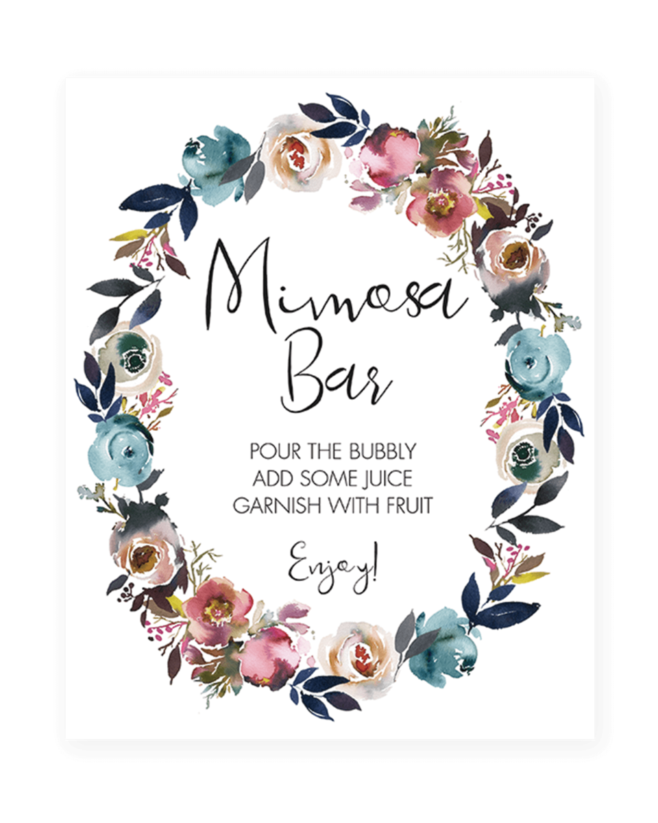 image about Mimosa Bar Sign Printable identified as Floral Wreath Bridal Shower Mimosa Bar Indicator Printable