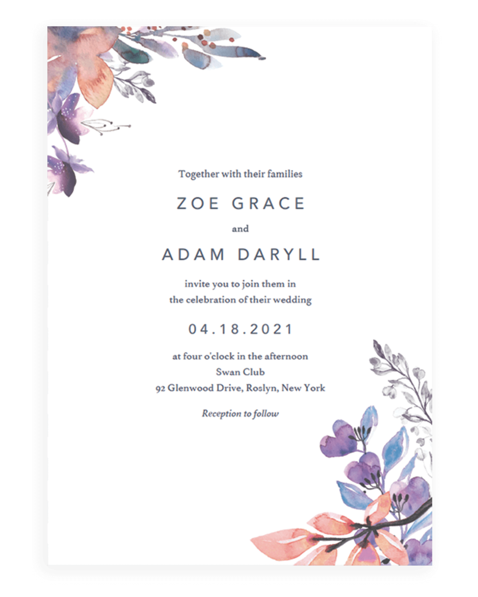 Lavender Florals Wedding Invitations Template