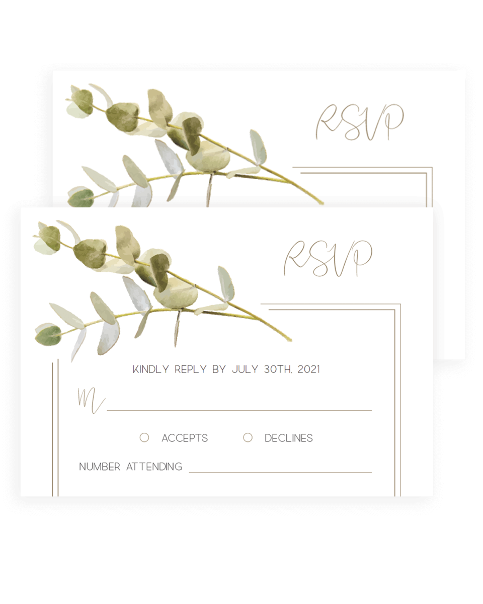 Green Leaves Rsvp Cards Templates
