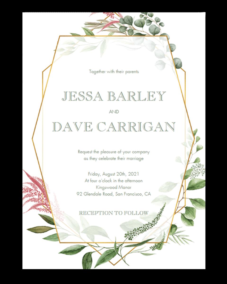 Botanical Wedding Invitation Template With Geometric Frame