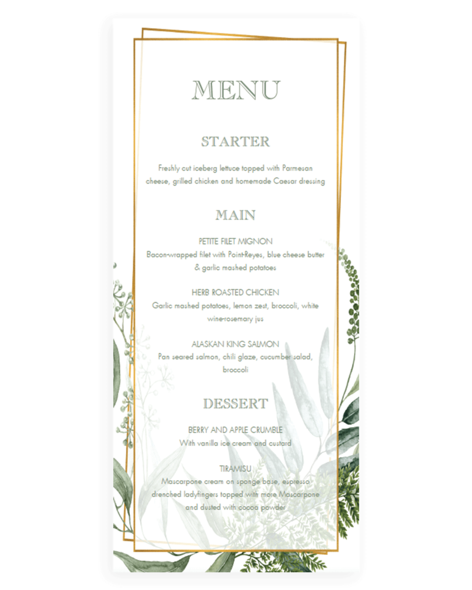 Vintage Botanical Menu Card for Wedding Reception