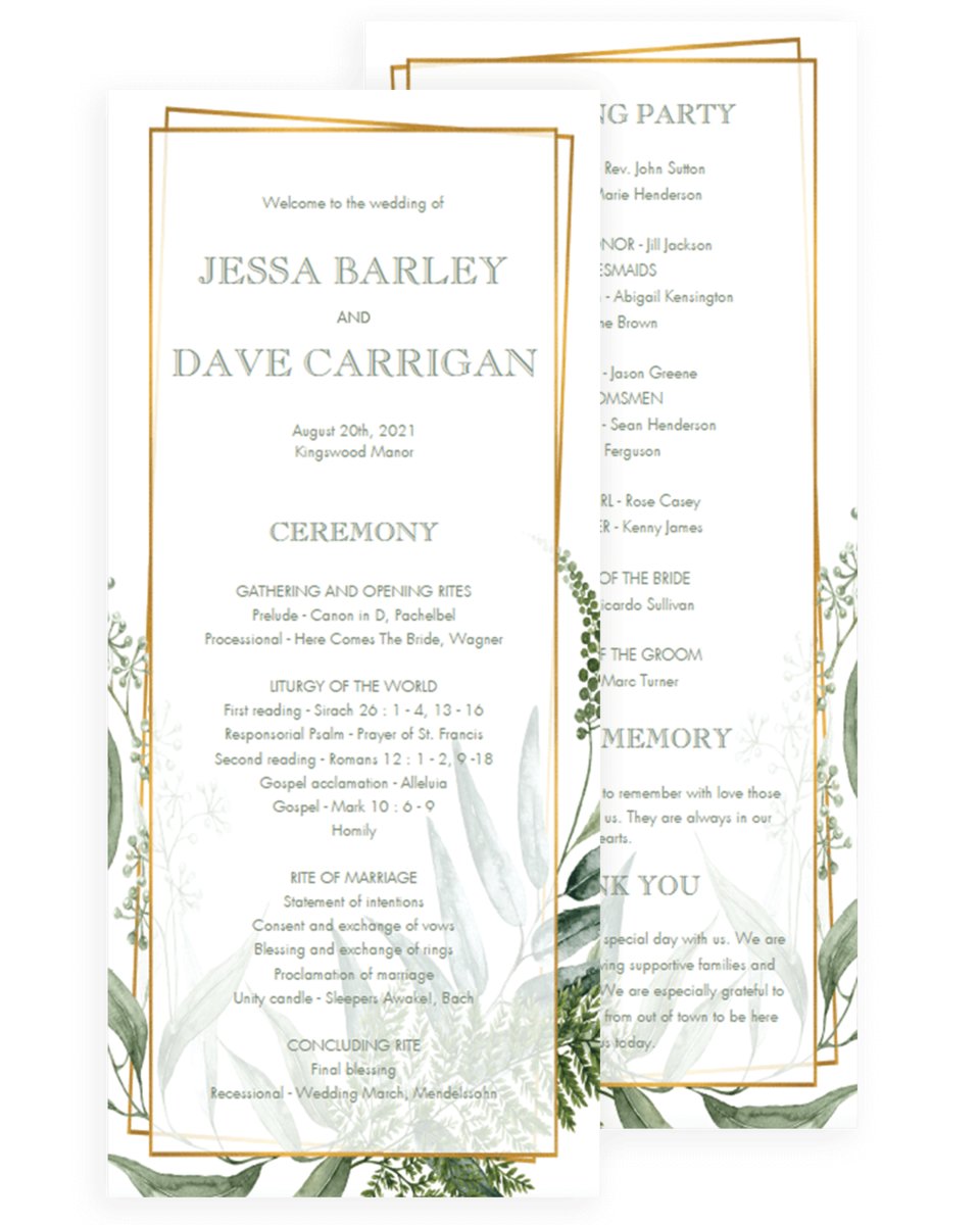 Wedding Programs Templates.Gold Frame And Green Leaves Wedding Programs Templates
