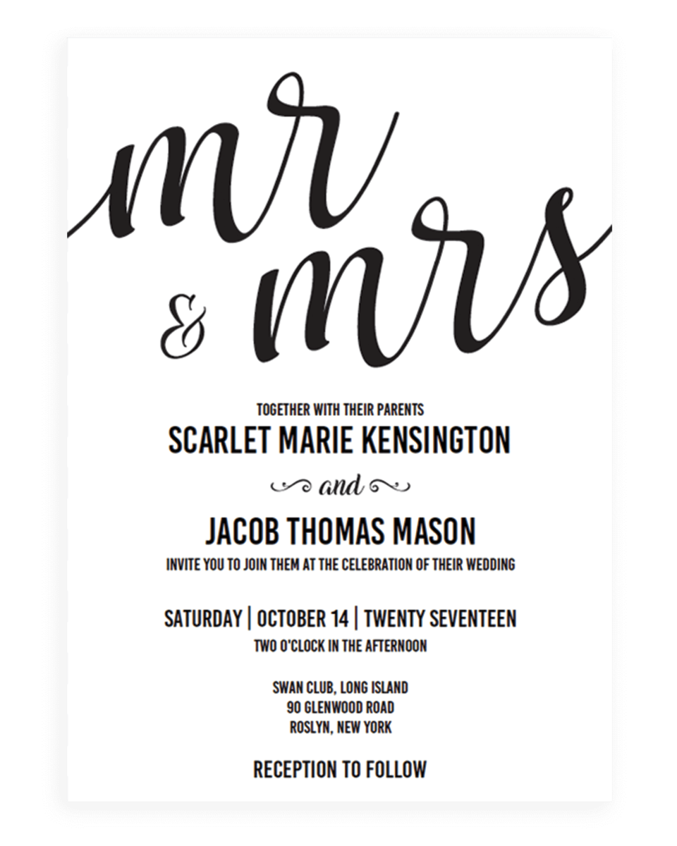 Mr and Mrs Wedding Invitation Template Download