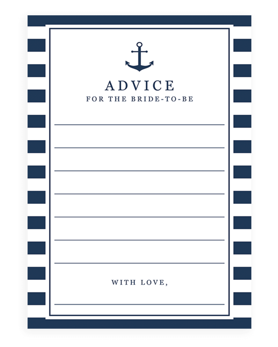 Nautical Advice Cards for the Bride-to-be