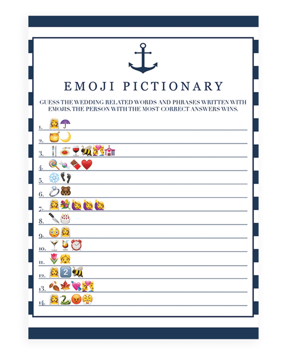 image regarding Bridal Games Printable identify Anchor Bridal Shower Emoji Pictionary Activity Printable