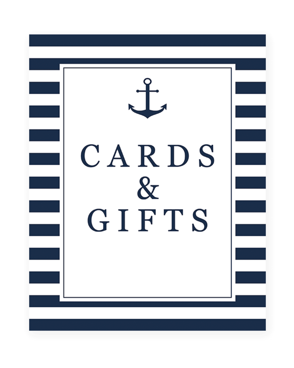 Cards and Gifts Sign for Nautical Wedding or Bridal Shower