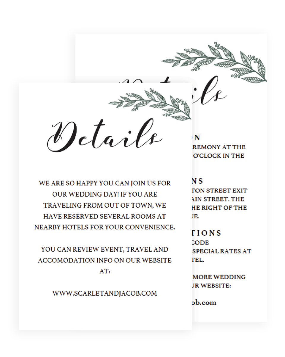 Green Leaves Wedding Details Card Templates - RB1