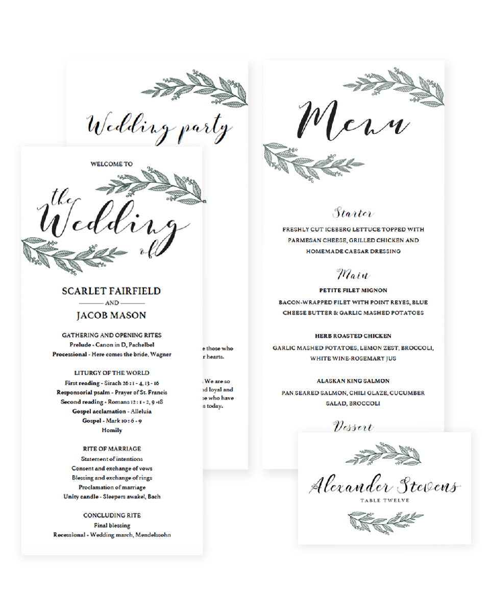 Green Wedding Day Stationery Pack Rustic