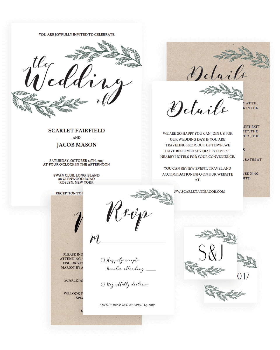 Rustic Wedding Invitation Set Template Instant Download - RB1