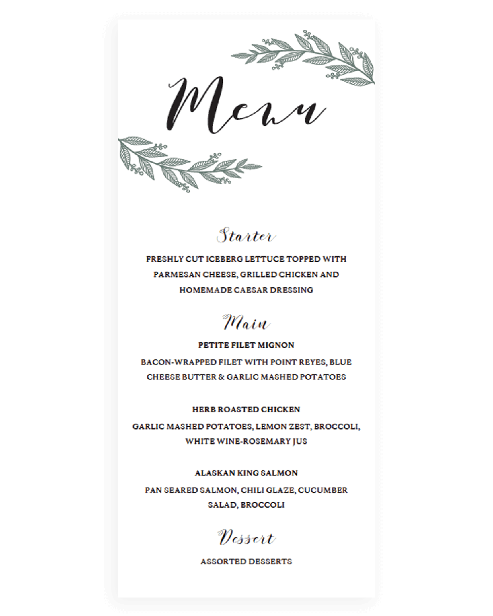 Rustic Chic Wedding Menu Template Download - RB1