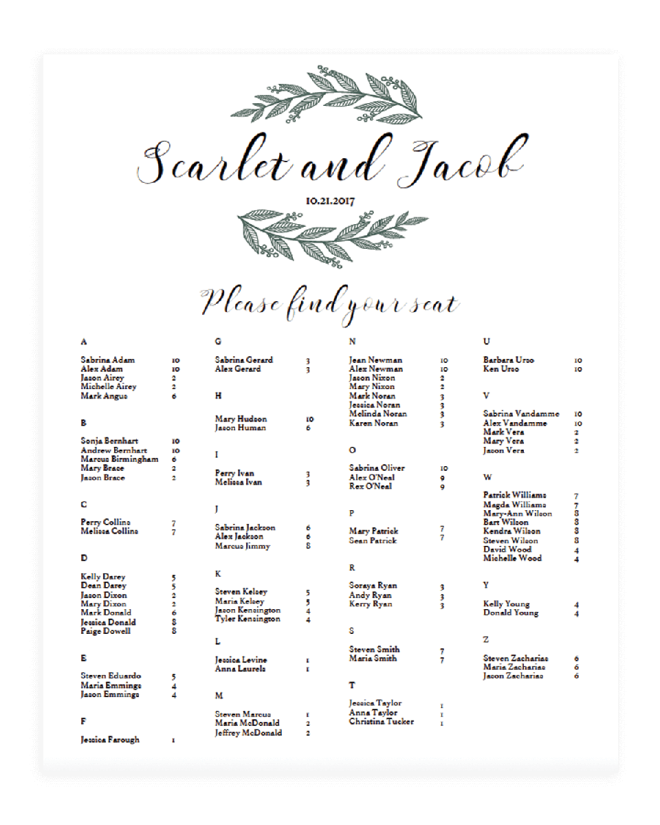 Alphabetical Seating Chart for Greenery Wedding - RB1