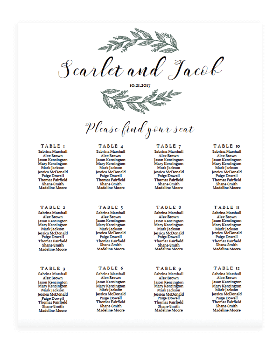 Rustic Chic Wedding Seating Charts Green - RB1