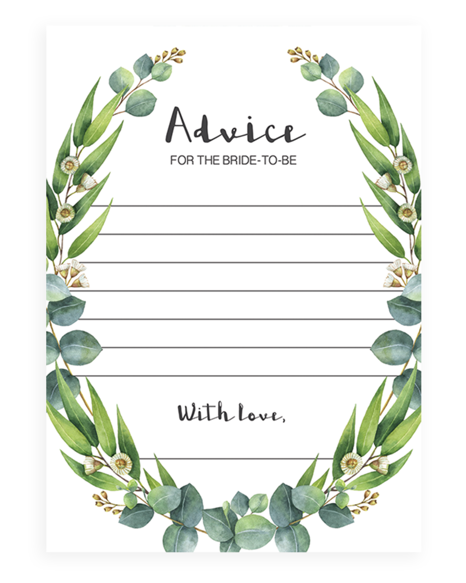 Lush Greenery Advice for the Bride to Be Card Printable - RE1