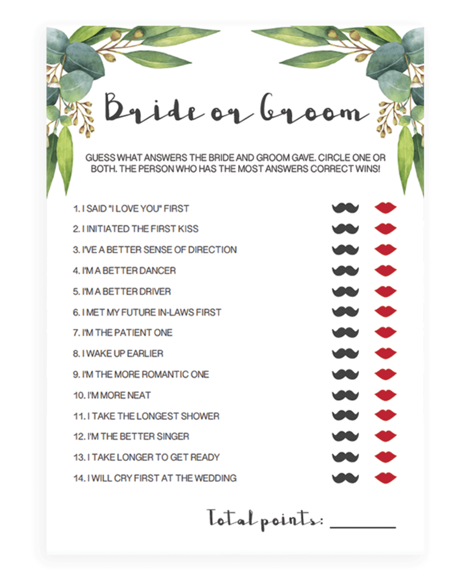 Bride or Groom Game for Greenery Bridal Shower - RE1