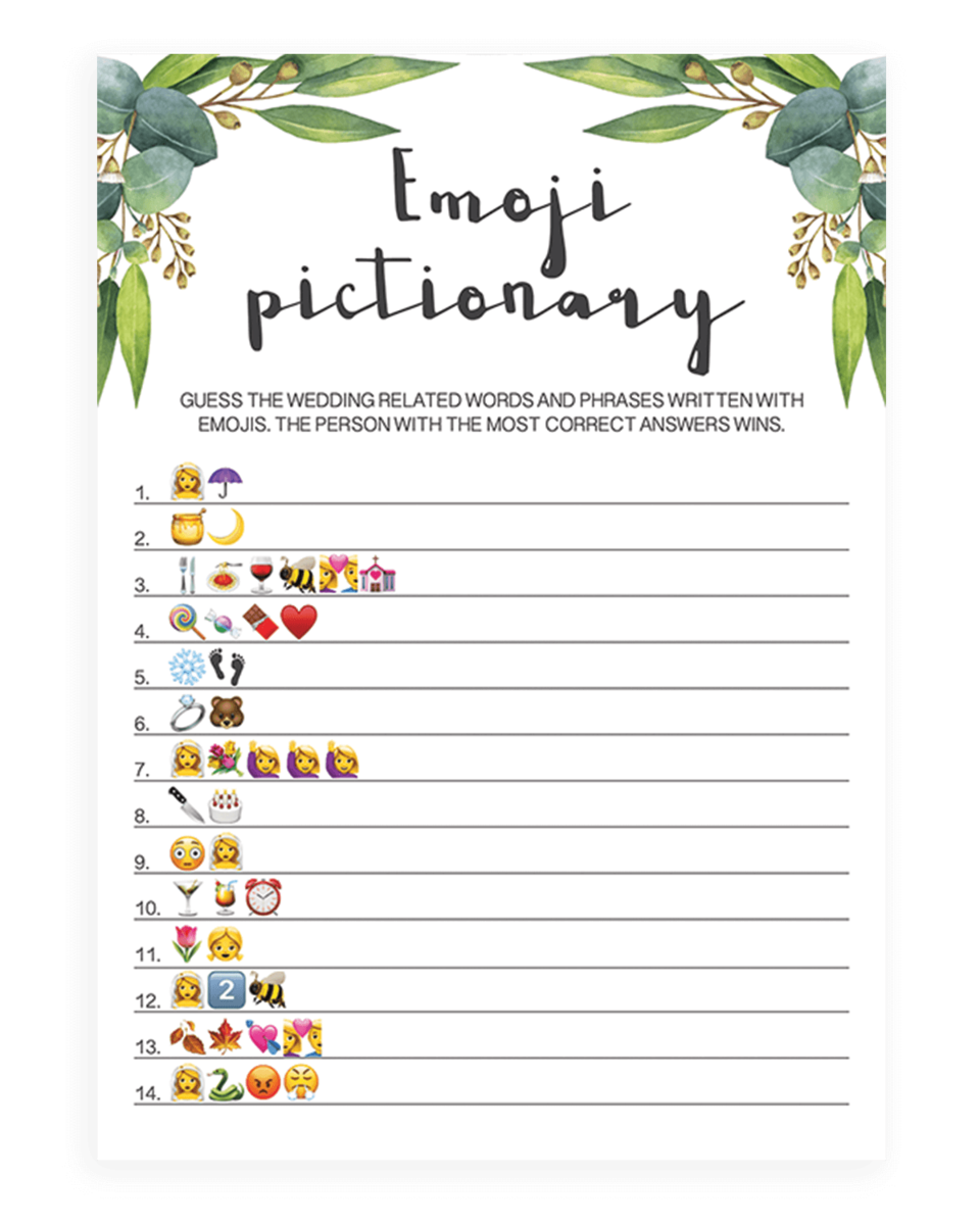 picture about Emoji Bridal Shower Game Free Printable known as Eucalyptus Bridal Shower Emoji Pictionary Printable - RE1