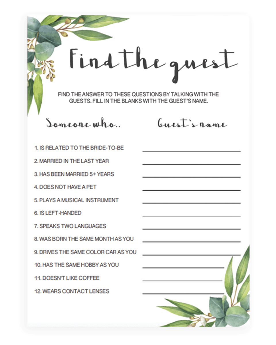 Fun Bridal Shower Find the Guest Game Instant Download - RE1
