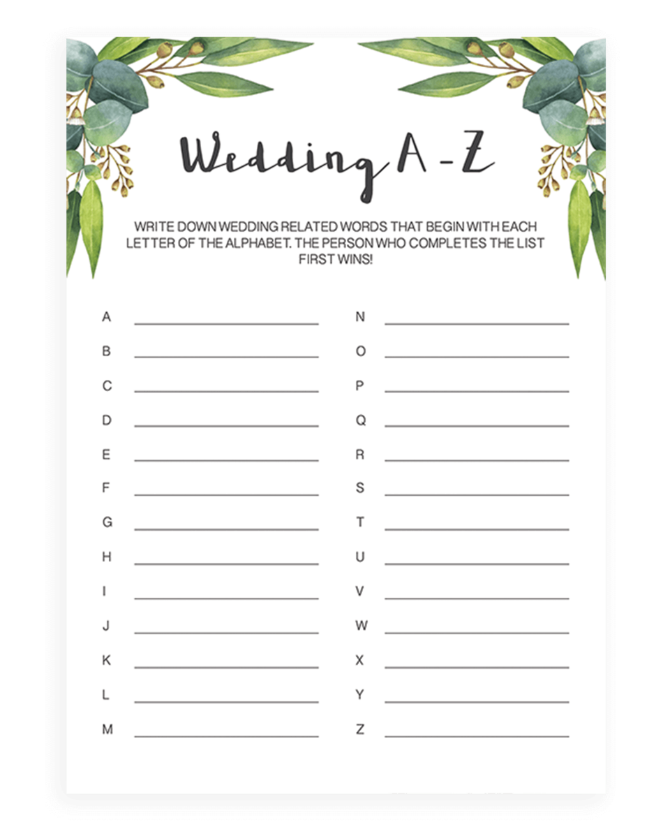 wedding a z game cards instant download