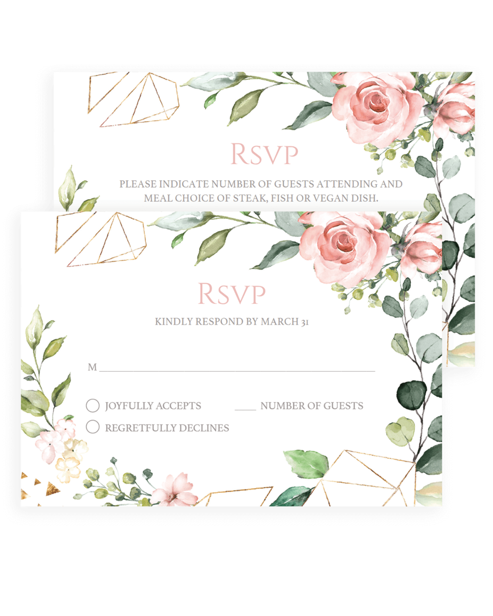Geometric Floral Wedding Response Cards Templates
