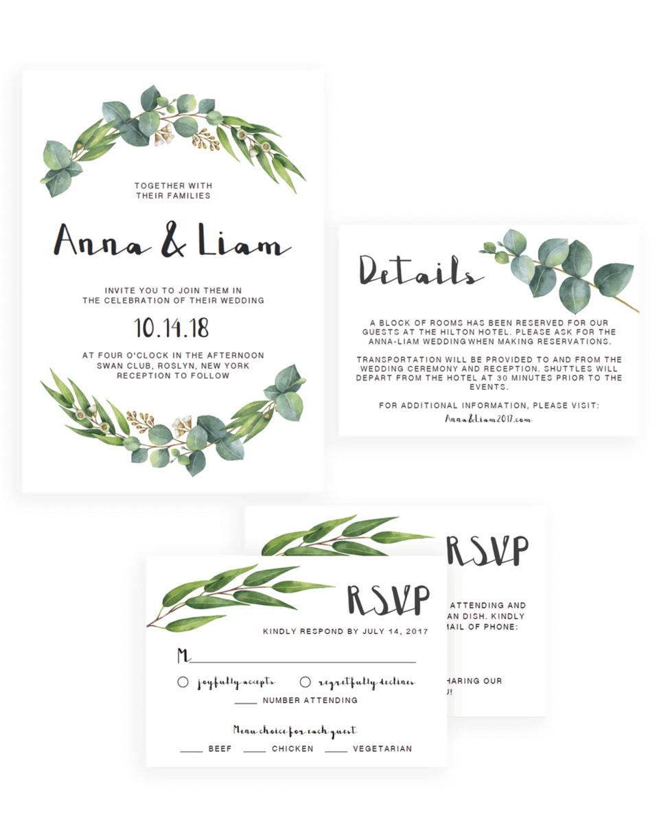 Complete Wedding Invitation Suite - Watercolor Green Leaves - RE1