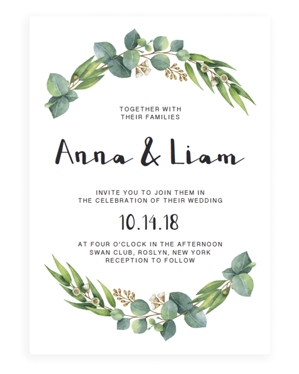 Eucalyptus Wedding Invitation Template - Watercolor Greenery - RE1