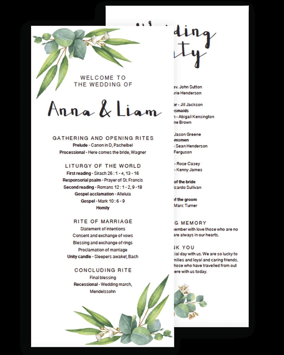 Greenery Wedding Ceremony Program Template